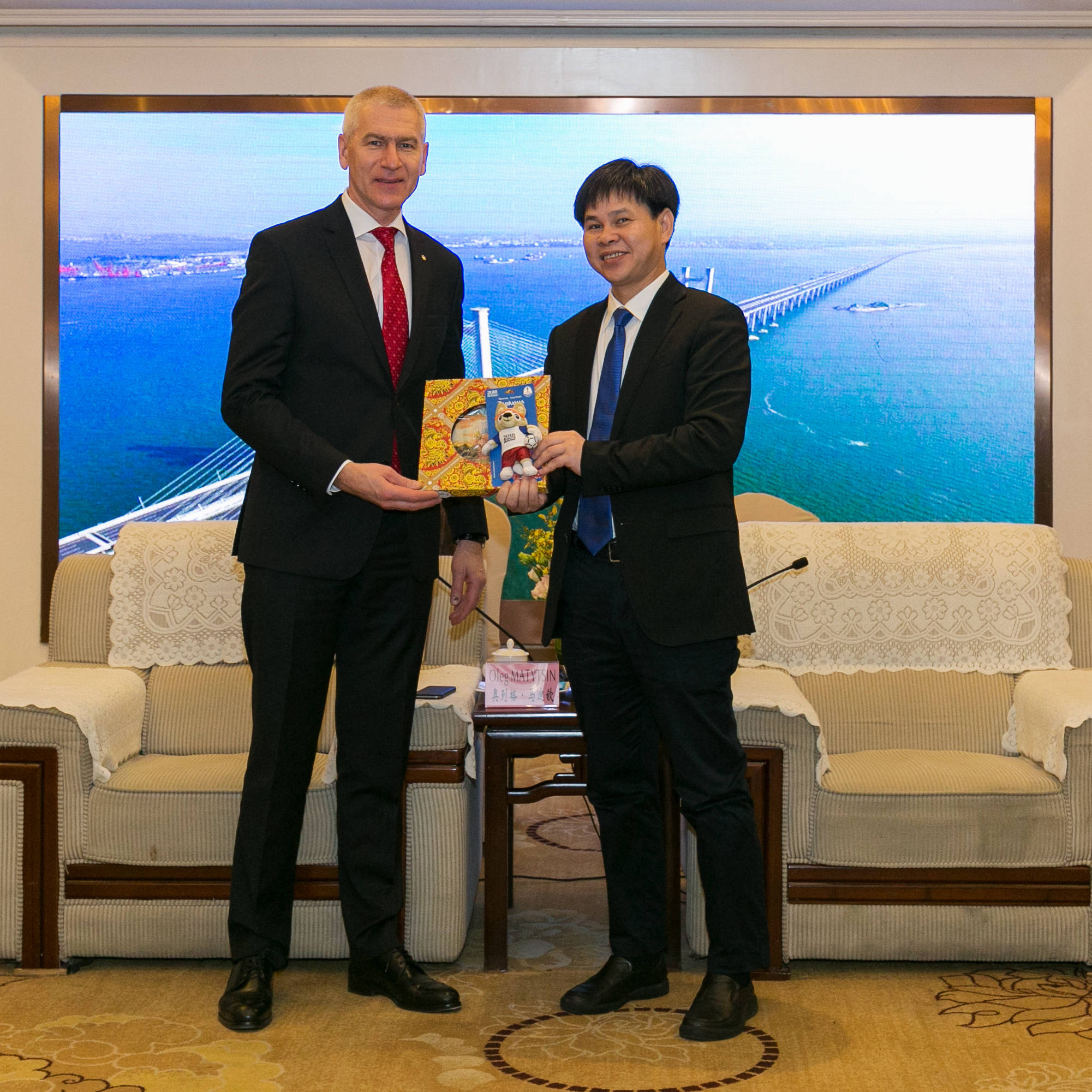 FISU President with Zhang Wenxian, the Mayor of Jinjiang
